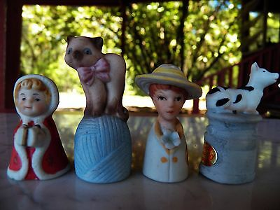 4 Figural Porcelain THIMBLES Enesco Little Red Riding Hood Cow CAT English Lady
