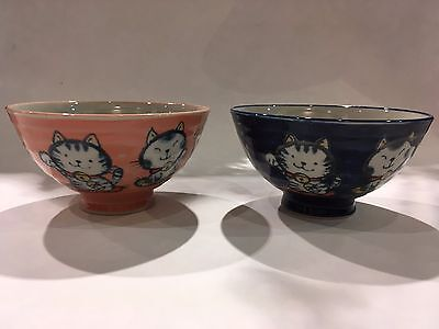 Lucky Cat Rice Bowl Red & Blue Ceramic Made in Japan NEW F/S