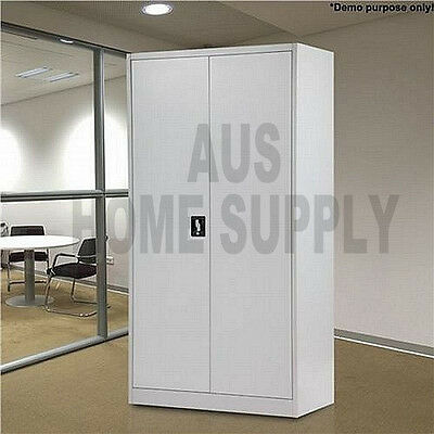 168cm Metal Locker Steel Stationary Cupboard Filing File Storage Cabinet GreyMEL