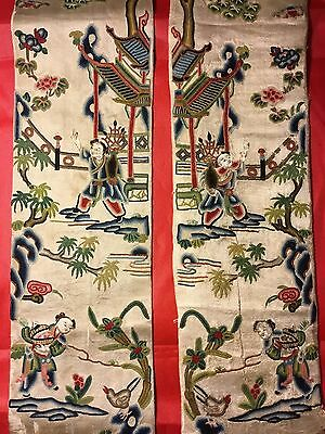 2 ANTIQUE 19th QI'ING CHINESE EMBROIDERED SILK SLEEVE BANDS FINEST EMBROIDERY!