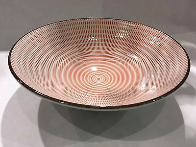 Japanese Tokusa Bowl Large Red Ceramic Made in Japan NEW F/S