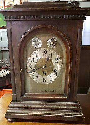 1919 Junghans German Clock, Westminster Chimes, 8x12x17. On movement panel:1919
