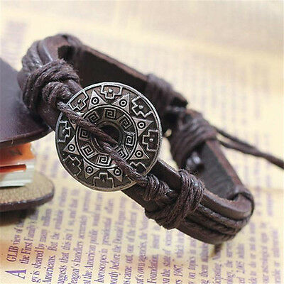 Retro Pendant Leather Bracelet Cuff Men Women Couple Jewelry Bangle Gift NEW