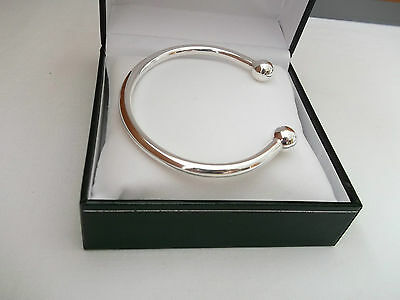 NEW MENS HEAVY SOLID SILVER 34g TORQUE BANGLE BRACELET