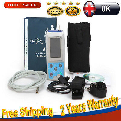 24H Blood Pressure Monitor Ambulatory Pulse Monitor ABPM Holter NIBP+3 Cuffs