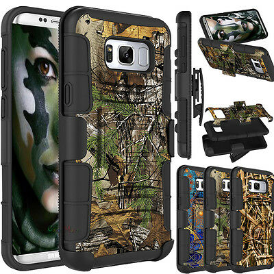 Military Shockproof Hybrid Camo Armor Holster Belt Clip Case Cover for Cellphone