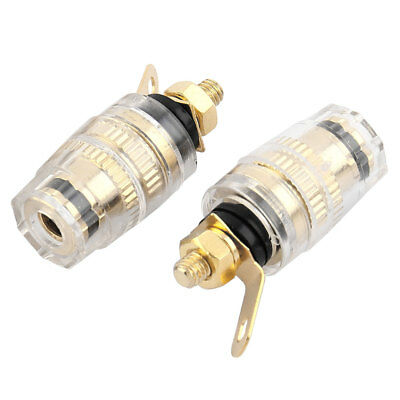 Copper Binding Post Black Gold Tone 2 PCS for Audio Speaker Banana Connector