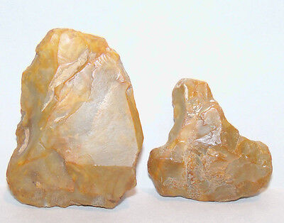 2 Acheulean Translucent Agaite Stone Hand Axe forms Paleolithic Stone Tools