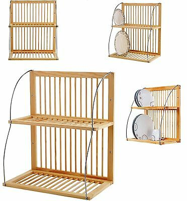 Wall Mounted Wooden Kitchen Rack Mugs Dinner Plates Dish Stand Storage Holder