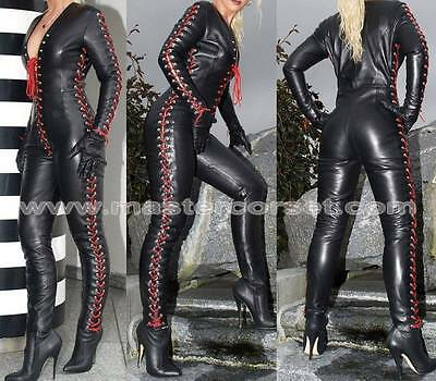 GenuineLeather catsuit bodysuit for women's clubwear jump suit with laced up