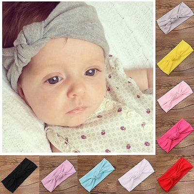 Toddler Kids Baby Girl Bowknot Rabbit Flower Hair Band Turban Headband Headwear