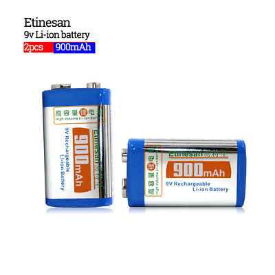 2 pcs / lot 9v SUPER BIG 900mAh li-ion lithium Rechargeable 9 Volt Battery