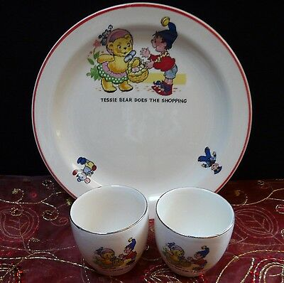Vintage Noddy nursery plate and 2 egg cups ~ Tessie bear does the shopping