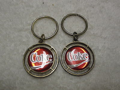 Vintage Pair COKE Coke-Cola Key Fobs Keychains Holder Ring EXCELLENT!