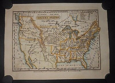 United States 1832 Map Hand Colored Oregon Missouri North West Territory Indians