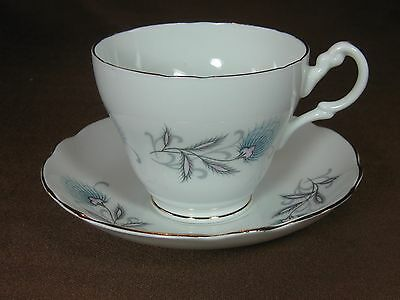 Royal Ascot Bone China Cup and Saucer Pink Blue Wildflowers Design Gold Trim