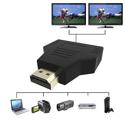 1080P HDMI 1 In 2 Out Splitter Adapter Converter For PS3 PS4 Xbox HDTV Projector