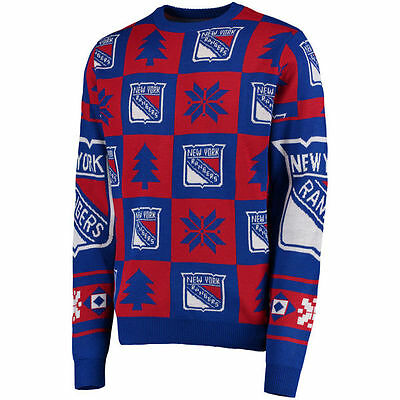 NHL NEW YORK NY RANGERS Eishockey Patches Ugly Sweater Christmas Pullover
