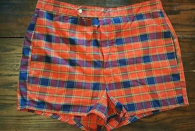 Vintage Mens Swim Shorts California Red Blue Plaid  Shorts Size 38