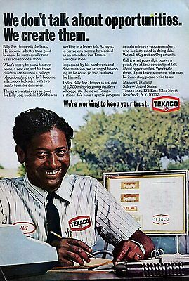 1971 Texaco Ad African American Gas Station Manager Billy Joe Hopper