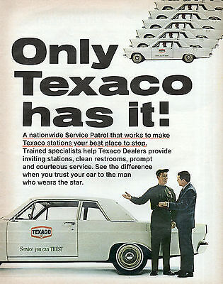 Texaco Print Ad 1965 White Car Oil Gas Service Patrol Decor 10 x 13 Original
