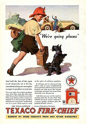 Texaco Ad Boy Scottish Terrier Original 1934 Gasoline Ad Petroliana, Scottie Dog