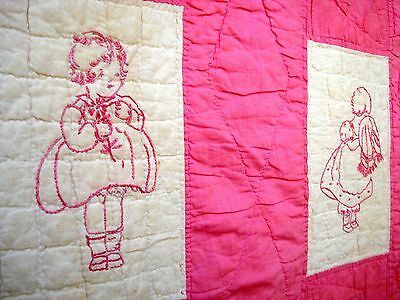 Vintage 1930's pink embroidered Quilt  30's pastel pink red work quilt
