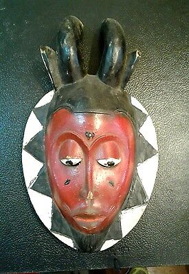 Antique African Painted Hand Carved Wood Mask Red & White Ivory Coast Estate Nr