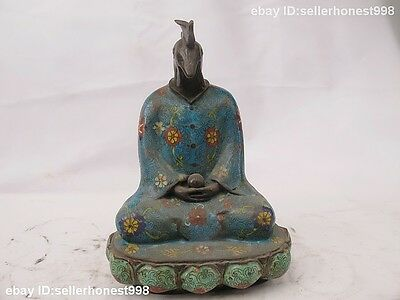 China Bronze Cloisonne Enamel Chicken Chook God Buddhism Zodiac Buddha Statue