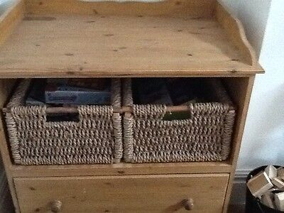 Solid pine baby changing unit with wicker storage baskets and drawer