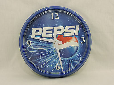 Pepsi Cola Wall Clock 14 inch Round Blue White Plastic Works Button Cap Style
