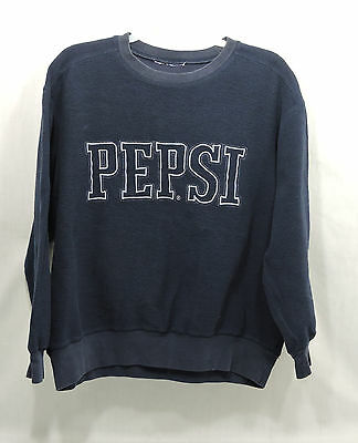 Vintage 90's Pepsi Cola Sweat Shirt Navy Blue Fleece Crew Neck  Size M