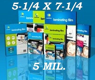 5 Mil Laminating Pouches Film Sheets Photo 5.25 x 7.25  (100- Pack)