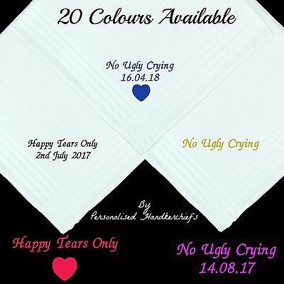 No Ugly Crying Personalised Handkerchief Hankie Only Happy Tears Gift Wedding