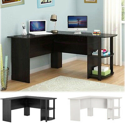 Wood Corner Computer Desk Home Office L-Shaped Workstation Table with Bookshlef