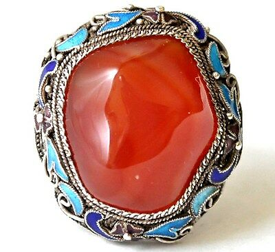 Vintage Chinese Silver and Large Carnelian/Agate Ring Size 5.5--7