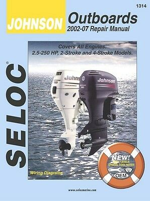 Service Repair Manual Book for Johnson Outboards 2002-07 3.5-250 HP Seloc 1314