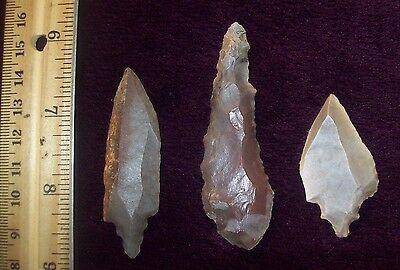 Choice Neolithic Arrowheads / Group of 3 (LARGE Assorted)