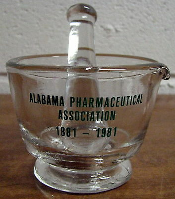 Vintage Glass Mortar and Pestle Set Pharmacy Apothecary Alabama Pharmaceutical
