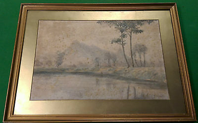 Riverbank & Mountain by T Kobayashi Japanese Watercolour Early 20th Century