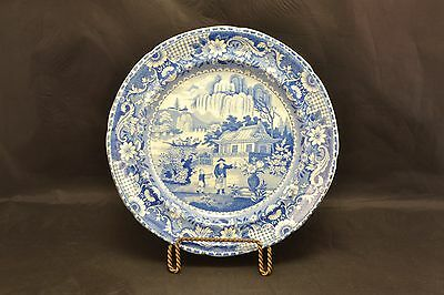 Antique Blue & White Pearlware Transferware plates Set of 4.  ND3514a
