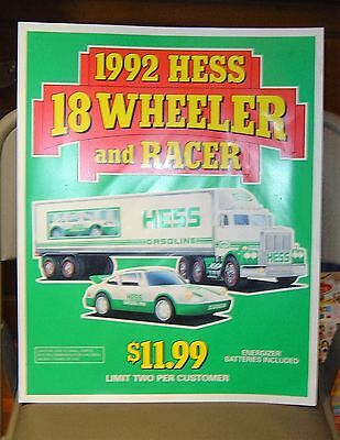 "HESS 1992 18 WHEELER AND RACER HEAVY VINYL POSTER 18"" x 15"""