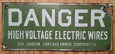 Porcelain Danger High Voltage Electric Wires San Joaquin Light And Power Corp