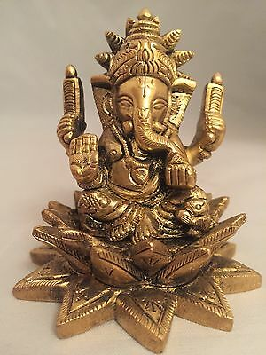 Ganesha Statue Brass Heavy Mouse Ganesh elephant face god hinduism brass Carved