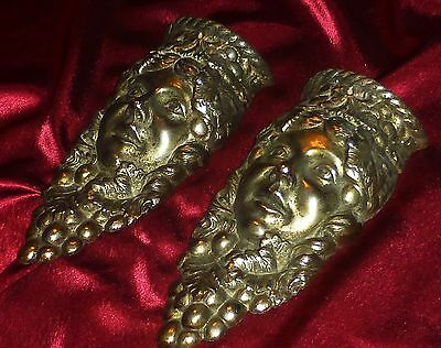Pair of French antique silvered mounts pediments decors Female Faces and Grapes