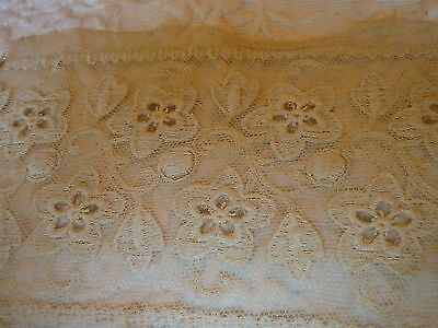 "Antique Hand Made Lace Ecru Beautiful Handwork Appr 15""x 3 1/4"" & 20"" X 3 1/4"""