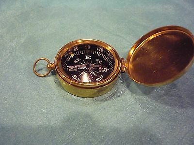 Small Brass Pocket Compass with lid Nautical Camping Hiking