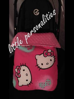 pink hello kitty dimple fleece stay put buggy/pram stroller blanket