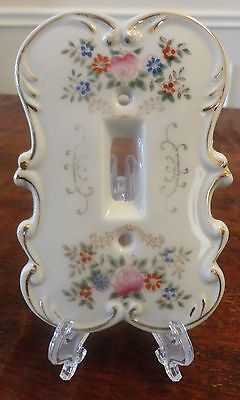 REPURPOSED - Old Arnart Japan Hand Painted Porcelain Light Switch Cover Plate #1