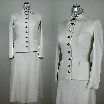 vintage 1940s linen suit 40s womens suit with round buttons by Majestic sz S 27W